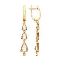 Золотые серьги подвесные с сваровски и топазами swarovski ДИ725169