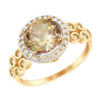 Золотое кольцо с сваровски и топазами swarovski ДИ715018