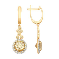 Золотые серьги подвесные с сваровски и топазами swarovski ДИ725341