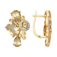 Золотые серьги с сваровски и топазами swarovski ДИ725308