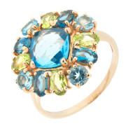 Золотое кольцо с хризолитами и топазами ГС1343869