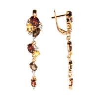 Золотые серьги подвесные с аметистами, гранатами и хризолитами ГС2453910