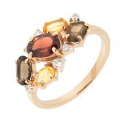 Золотое кольцо с аметистами, гранатами и хризолитами ГС1453910