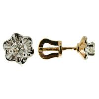 Золотые серьги гвоздики с бриллиантами Якутия