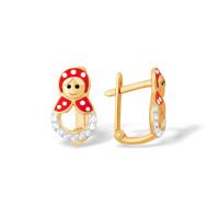 Золотые серьги детские с фианитами и эмалью