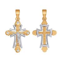 Золотой крест с фианитами ДИ121335