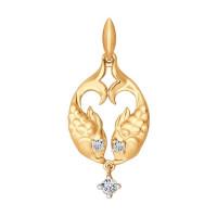 Золотой знак зодиака «рыбы» с фианитами ДИ034817