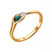 Золотое кольцо с изумрудом и бриллиантами ДИ3010515