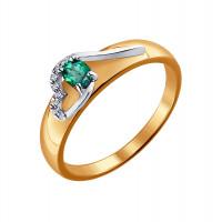 Золотое кольцо с бриллиантами и изумрудом ДИ3010523