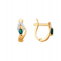 Золотые серьги с изумрудами и бриллиантами ДИ3020392