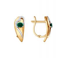 Золотые серьги с бриллиантами и изумрудами ДИ3020400