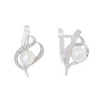 Серебряные серьги с жемчугом и фианитами АБ2905505