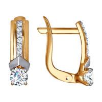 Золотые серьги с фианитами ДИ027333