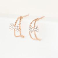Золотые серьги гвоздики с фианитами