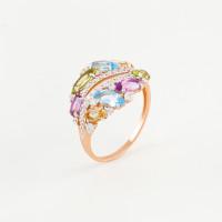 Золотое кольцо с топазами, аметистами, хризолитами, цитринами и фианитами ЮПК1344967