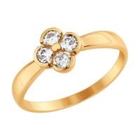 Золотое кольцо с сваровски ДИ81010335