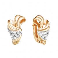 Золотые серьги с фианитами ЮИС132-4322