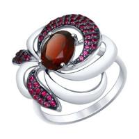 Серебряное кольцо с гранатами и фианитами ДИ92011427