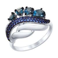 Серебряное кольцо с топазами и фианитами ДИ92011419