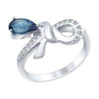 Серебряное кольцо с топазами и фианитами ДИ92011421