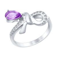 Серебряное кольцо с аметистами и фианитами ДИ92011422