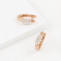 Золотые серьги с фианитами для невесты