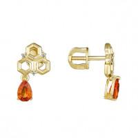 Золотые серьги гвоздики с сапфирами и бриллиантами ЮЗ5-11-0877-313