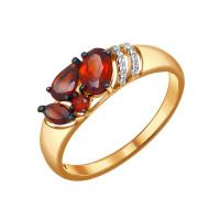 Золотое кольцо с гранатами и фианитами ДИ714047