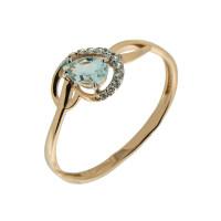 Золотое кольцо с топазами и фианитами ЮПК1347520тг