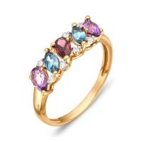 Золотое кольцо с аметистами, родолитами, топазами и фианитами ЮИК122-1362М2