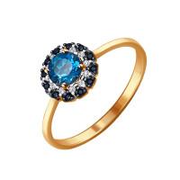 Золотое кольцо с топазами и фианитами ДИ714078