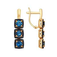 Золотые серьги подвесные с топазами и фианитами ДИ724178