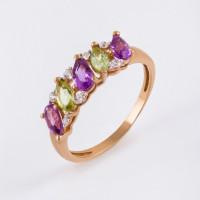 Золотое кольцо с аметистами, хризолитами и фианитами ЮИК122-1362М3