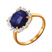 Золотое кольцо с бриллиантами и сапфирами гт ДИ6012031