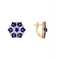 Золотые серьги с корундами сапфирами и бриллиантами ДИ6022080