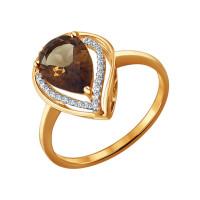 Золотое кольцо с раухтопазами и фианитами ДИ713931