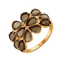 Золотое кольцо с раухтопазами ДИ714299