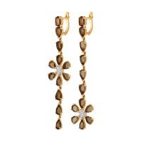 Золотые серьги подвесные с раухтопазами и фианитами ДИ724390