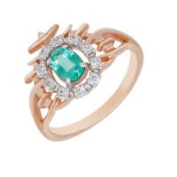 Золотое кольцо с бриллиантами и изумрудом ЗСК13000111