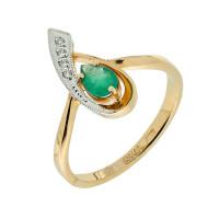 Золотое кольцо с бриллиантами и изумрудом ЗСК13000120