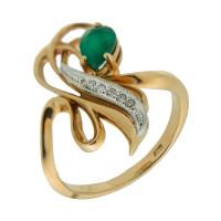 Золотое кольцо с бриллиантами и изумрудом ЗСК13000147