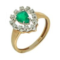 Золотое кольцо с бриллиантами и изумрудом ЗСК13000175
