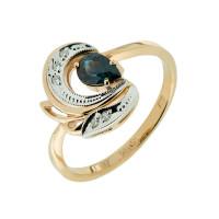 Золотое кольцо с бриллиантами и сапфиром ЗСК13000260
