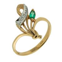 Золотое кольцо с бриллиантами и изумрудом ЗСК13001038