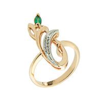 Золотое кольцо с бриллиантами и изумрудом ЗСК14000104