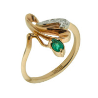 Золотое кольцо с бриллиантами и изумрудом ЗСК14000110