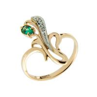 Золотое кольцо с бриллиантами и изумрудом ЗСК14000120