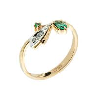 Золотое кольцо с изумрудами и бриллиантами ЗСК14000131