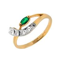 Золотое кольцо с бриллиантами и изумрудом ЗСК14000142