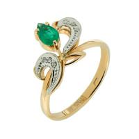 Золотое кольцо с бриллиантами и изумрудом ЗСК14000162